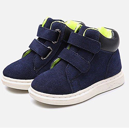 Hunpta Des jungen Mädchens Kinder Stil Hight Cut Leder Stiefel warme Schnee Martin Stiefeletten Blau