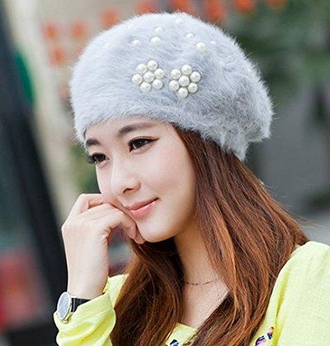 Bérets Automne Et Chapeau D'hiver Femelle Belle Tricotage Ms Winter ( couleur : D ) D