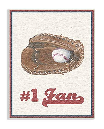 Stupell Industries Nummer 1Baseball Fan Übergroße Wandschild Kunst, Stolz Made in USA, Holz, mehrfarbig, 31,75x 1, 27x 46,99cm (Baseball-kunst-drucke)