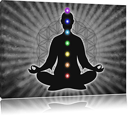Meditation mit den 7 Chakren B&W Detail, Format: 120x80 auf Leinwand, XXL riesige Bilder fertig gerahmt mit Keilrahmen, Kunstdruck auf Wandbild mit...