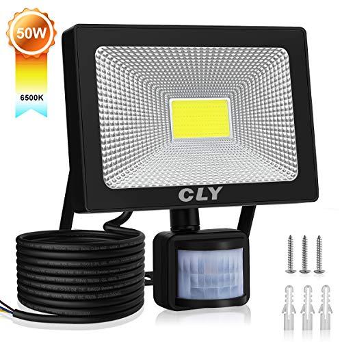 CLY Faretto Esterno 50W Faro LED con Sensore di Movimento Super Luminoso Lluminazione Esterno(Luce Equivalente HPS 150 W), Impermeabile IP66, 6000K 5000 Lumen