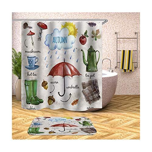 KnSam Duschvorhang Anti-Schimmel Wasserdicht Vorhänge An Badewanne Bad Vorhang für Badezimmer Regenschirm 100% Polyester inkl. 12 Duschvorhangringen 165X180cm