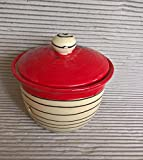kleiner Zwiebeltopf oder Knoblauchtopf Keramik Inge in redline
