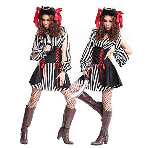 Kostüm Sexy Kostüm Sexy Versuchung Cosplay Performance Kleidung, Hinzufügen Spaß Zum Sexualleben (Geeignet Für 45-70kg Frauen),Black-OneSize (Weibliche Piraten Outfit)