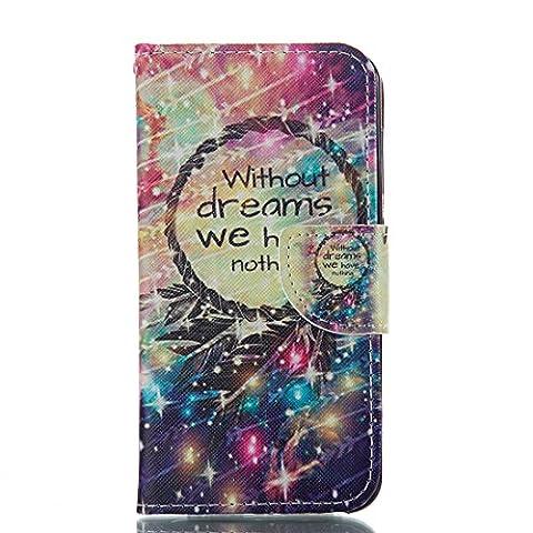 Jepson Huawei Honor 6 (5,0 Zoll) Premium Lederhülle Flip Case - Bookstyle Folio Cover Kartenfächer Magnetverschluss und Standfunktion PU Leder Etui für Handytasche Schutzhülle Bunt Muster.