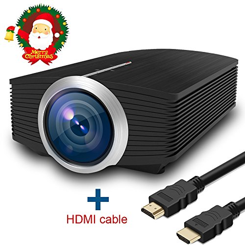 Full HD Video Beamer, HuiHeng LCD Heimkino Video projektor 1600 Lumen Für Outdoor Indoor Filmerlebnis Und Heimkino mit HDMI Kabel