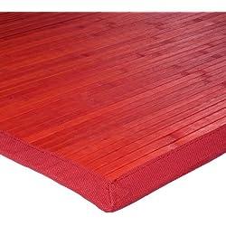 Monbeautapis 712226Solo Alfombra bambú 120x 70cm, bambú, Rojo, 120x70x10 cm