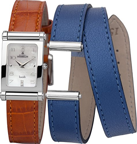 Michel Herbelin Antares Interchangeable Women's Quartz Watch with Mother of Pearl Dial Analogue Display and Orange Leather Strap COF17048/89OB