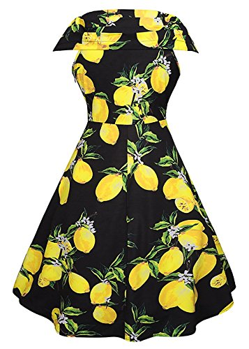Le donne annata 1950 della stampa floreale Party Dress scollo a V abito da cocktail swing Cap Sleeve - Limone stampa Nero