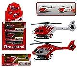 1 x Feuerwehr-Hubschrauber Helikopter ca. 22 cm, mit Rückzug, rot oder weiß