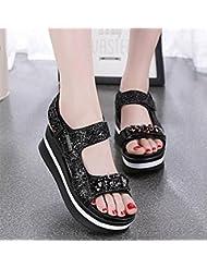Mot sandales boucle femmes ouvertes paillettes orteil chaussures à fond épais chaussures de sport sauvage