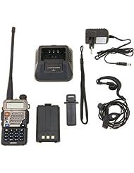 Baofeng UV- 5RE Walkie Talkie FM de Radio VHF / UHF Alcance Hasta 5 km, con Doble Banda , Pantalla Dual , Doble Modo de Espera y Reloj Incorporado Negro