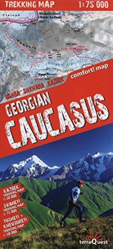 Cáucaso georgiano. Kazbek 1:50.000, Svaneti 1:75.000, Tusheti Khevsureti. Escala 1:100.000. Mapa excursionista plastificado. terraQuest. (Trekking map)