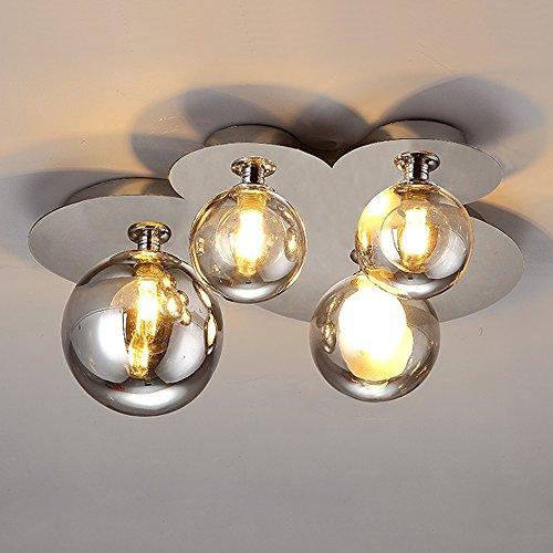 Runde Edelstahl Deckenleuchte Glas Lampenschirm Modern Einfach Deckenlampe Kreativ Grau Lampe 4 Flammig Deckenleuchten Persönlichkeit Innen Beleuchtung Wohnzimmer Schlafzimmer Gang Ø45* H41cm