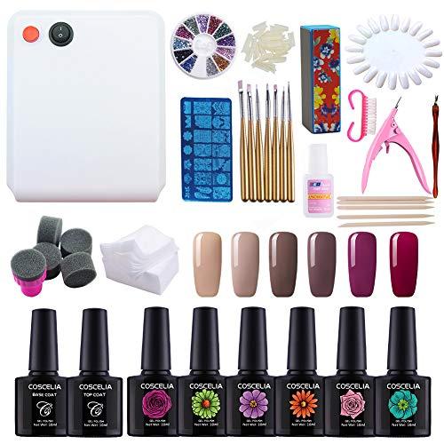 Coscelia Kit 36W Lampada UV Asciuga Smalto Semipermanente Unghie Finte con Colla Nail Art Manicure