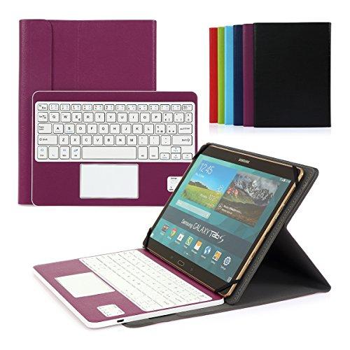 tastiera tablet 10 pollici Cassa con Tastiera Smontabile Bluetooth 3.0 Italiano e touchpad - Compatibile con 9.0-10.6 Pollici Qualsiasi Windows/Android OS (Porpora)