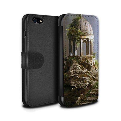 Officiel Elena Dudina Coque/Etui/Housse Cuir PU Case/Cover pour Apple iPhone 8 / Ville dans Arbres Design / Fantaisie Paysage Collection Oublié Temple