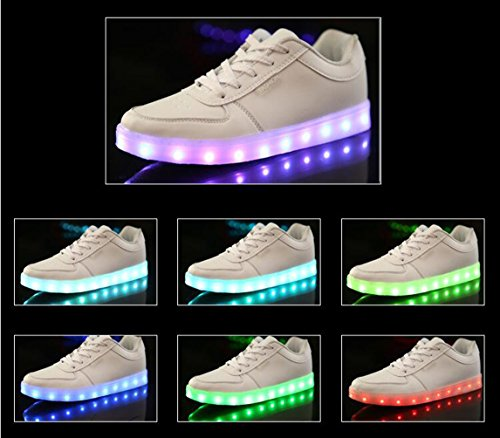 Brinny Sneakers 7 Couleur Unisexe Homme Femme USB Charge LED Lumière Lumineux Clignotants Chaussures de Sports Baskets Sneakers Noir