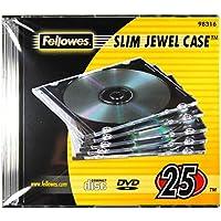 Fellowes 98316 - Pack de 25 Cajas Estuche para CDs/DVDs Slim, Transparente