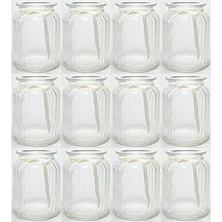 Annastore 12 x Windlichter geriffelt mit cremefarbenem Band H 14,5 cm - Vasen - Kerzenhalter - Teelichtgläser