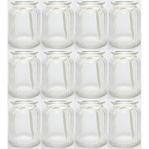 12 x Windlichter geriffelt mit cremefarbenem Band H 14,5 cm - Vasen - Kerzenhalter - Teelichtgläser
