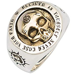 FORFOX Punk 925 Sterling Silber Gold Totenkopf Skull Ring Graviertes Sonne Totem für Herren Damen Verstellbarer Größe 55-65