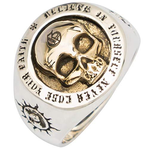 ling Silber Gold Totenkopf Skull Ring Graviertes Sonne Totem für Herren Damen Verstellbarer Größe 55-65 ()