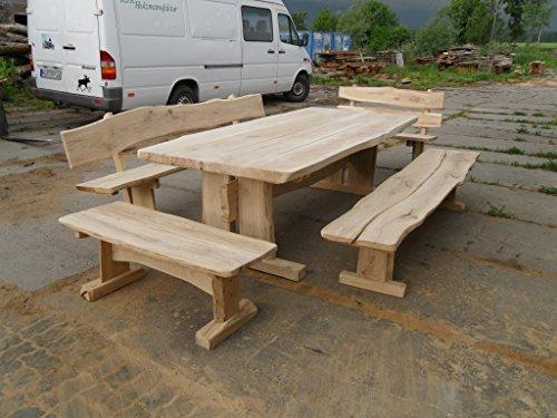 Rustikale Gartenmöbel (Rustikale Gartenmöbel, Sitzgruppe, Sitzgarnitur, Eiche, 2,5 m, 4 Bänke)