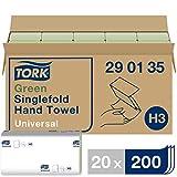 Tork 290135 grüne Zickzack Handtücher Universal für Tork H3 Zickzack und Lagenfalz Handtücher-Systeme / Falthandtücher 1-lagig / 20x 200 Tücher (24.8 x 23 cm)