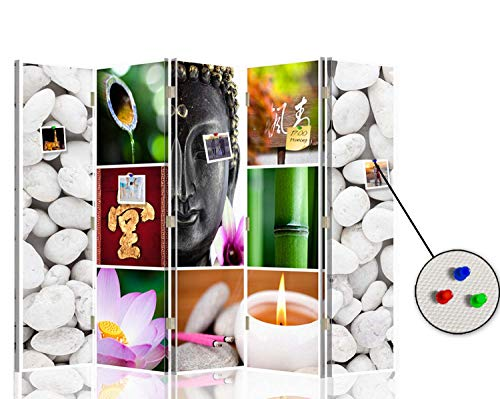 F FEEBY WALL DECOR Foto Biombo Corcho Zen 5 Paneles Bilateral Buda Mul