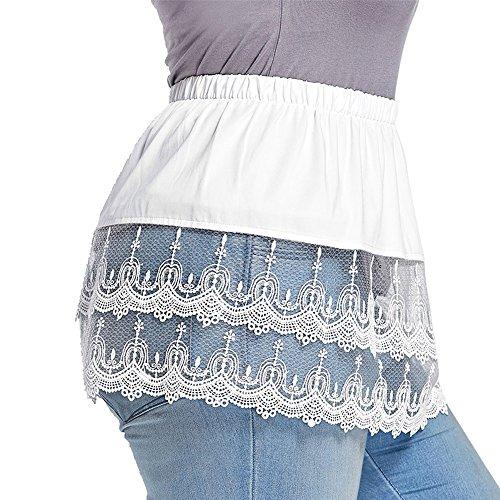 GAMISS Damen Spitze Rock Extender Tiered Sheer Rock Mini Slip für Kleid Shirts Große Größe weiß 5xl (Sheer Plissee-rock)