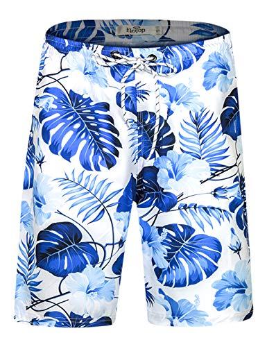 Herren Badeshorts Schnell Trocknend Badehose Fashion Beach Board Shorts mit elastischer Taille Blau EHS026-3XL -