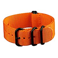 INFANTRY® Military Orange ZULU Watch Band Fabric Nylon Strap Black Hardware 22mm Strong Divers