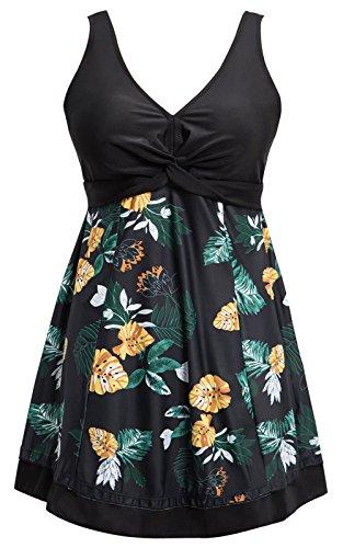 Ecupper Damen Badekleid Gepolstert Badeanzug mit Shorts Einteiler Blumen Muster Schwimmkleid Große Größen Schwarz Blumen 4XL