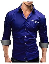 MERISH Slim Fit chemise homme, longue chemise décontractée avec des contrastes de couleurs style unique Modell 58