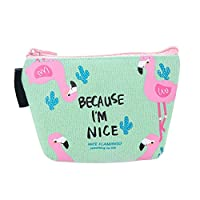 Bibabo25 Cute Cartoon Flamingos Coin Purse Canvas Card Holder Cash Zipper Wallet Bag