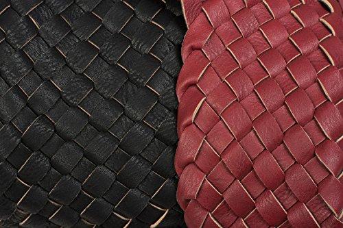 styleBREAKER XXL Wendetasche in Flecht-Optik, Shopper Tasche, Handtaschen Set, 2 Taschen, Bag in Bag, Schultertasche, Damen 02012163, Farbe:Dunkelbraun / Antik-Bronze Bordeaux-Rot / Schwarz