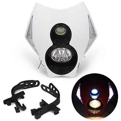 Jfgracing universale H312V 35W alogena faro LED moto doppia testa della lampada con LED accensione luci per Dirt Pit Bike super Motard-bianco