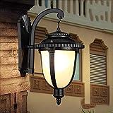 D_HOME Außenleuchten Außen Veranda Haustür Garage Balkon Wetterfeste Außenwandleuchten Laterne Beleuchtung (Bronze) Wohnzimmer Schlafzimmer Lampe (Farbe : SCHWARZ, größe : Large)