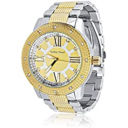 Techno Trend Men's Extra Large Silver Plated Round Clear Flat Lens Chunky Hip Hop Bling Watch