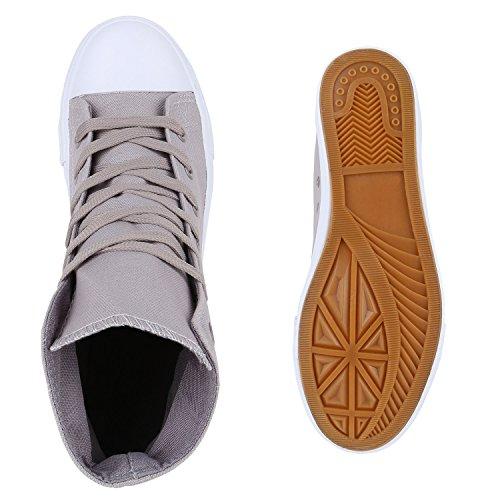Herren Schuhe Sneakers | Sneaker High Denim | Turnschuhe Camouflage | Stoffschuhe Schnürer Grau Total