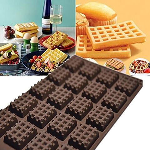 Moules à gâteaux, IMJONO Silicone de cuisine Mini gaufres rondes  Casserole  gâteau Panneau de chocolat Plaque à gaufres (30*17.5*1cm, Café)