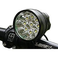 Maike High LED illuminazione bicicletta/Torcia con 9LED, 12000lumen, fissaggio veloce con fascia e batteria agli ioni di