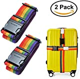 """Set of 2 Adjustable 2M 78"""" Long Travel Luggage Strap Packing Belt Suitcase Bag Security Straps with Clip, Colorized"""