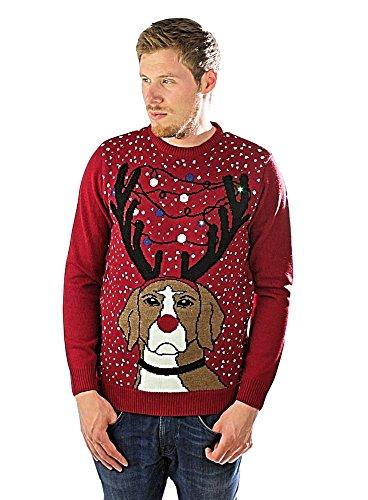 e Designer Aufleuchtend 3D Weihnachten Pullover - Mürrisch Hund - Rot, L ()