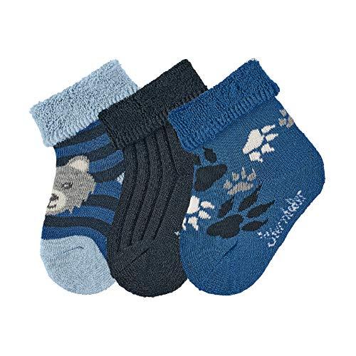 Sterntaler Baby - Jungen Socken Baby-söckchen 3er-pack Wolf, Blau (Hellblau Mel. 374), 18 (Herstellergröße: 18)