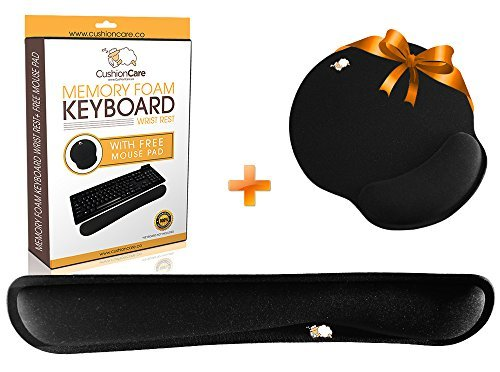 CushionCare Keyboard Wrist Rest Pad - Mouse Pad Included - Ergonomic Support - Made of Foam That Is Built to Last - Provides Comfort and Support to Hands While Typing - 3 Years Warranty by CushionCare