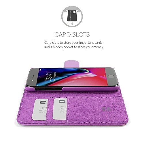 Cover iPhone 7 Plus and 8 Plus, Snugg Apple iPhone 7 Plus and 8 Plus Flip Custodia Case [Slot Per Schede] Pelle Portafoglio Progettazione Esecutiva [Garantita a Vita] - Rosso, Legacy Range Porpora