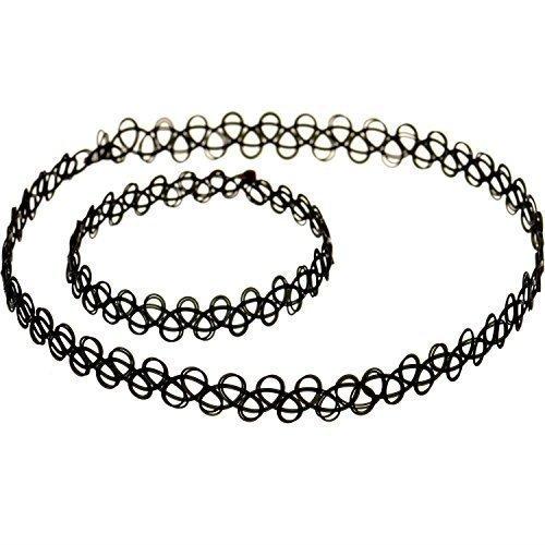 live-it-style-it-noir-tatouage-tour-de-cou-extesible-collier-bracelet-bague-ensemble-complet-nouveau