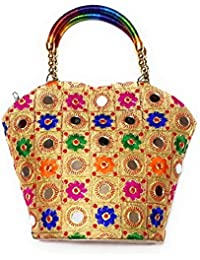 Embroidered Mirror Work Multi-Color Handle Clutch With Banarasi Design For Girls/Women